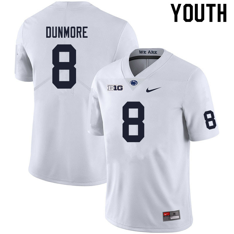 Youth #8 John Dunmore Penn State Nittany Lions College Football Jerseys Sale-White