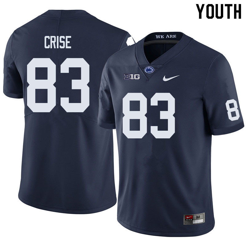 Youth #83 Johnny Crise Penn State Nittany Lions College Football Jerseys Sale-Navy