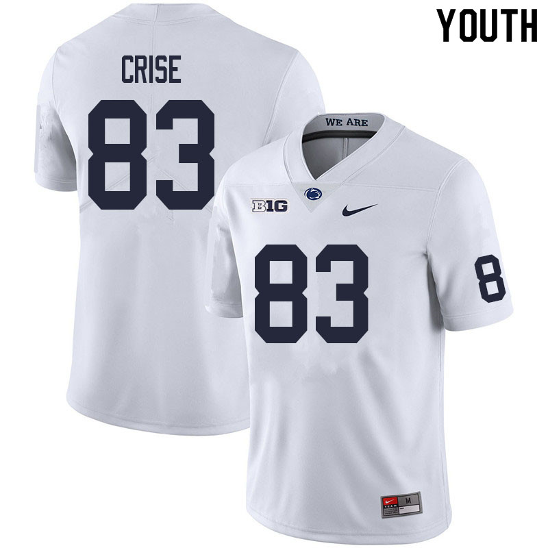Youth #83 Johnny Crise Penn State Nittany Lions College Football Jerseys Sale-White