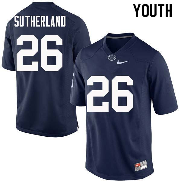 Youth #26 Jonathan Sutherland Penn State Nittany Lions College Football Jerseys Sale-Navy