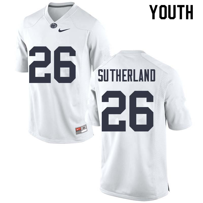 Youth #26 Jonathan Sutherland Penn State Nittany Lions College Football Jerseys Sale-White