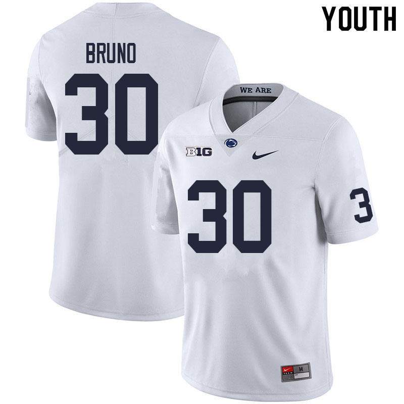 Youth #30 Joseph Bruno Penn State Nittany Lions College Football Jerseys Sale-White