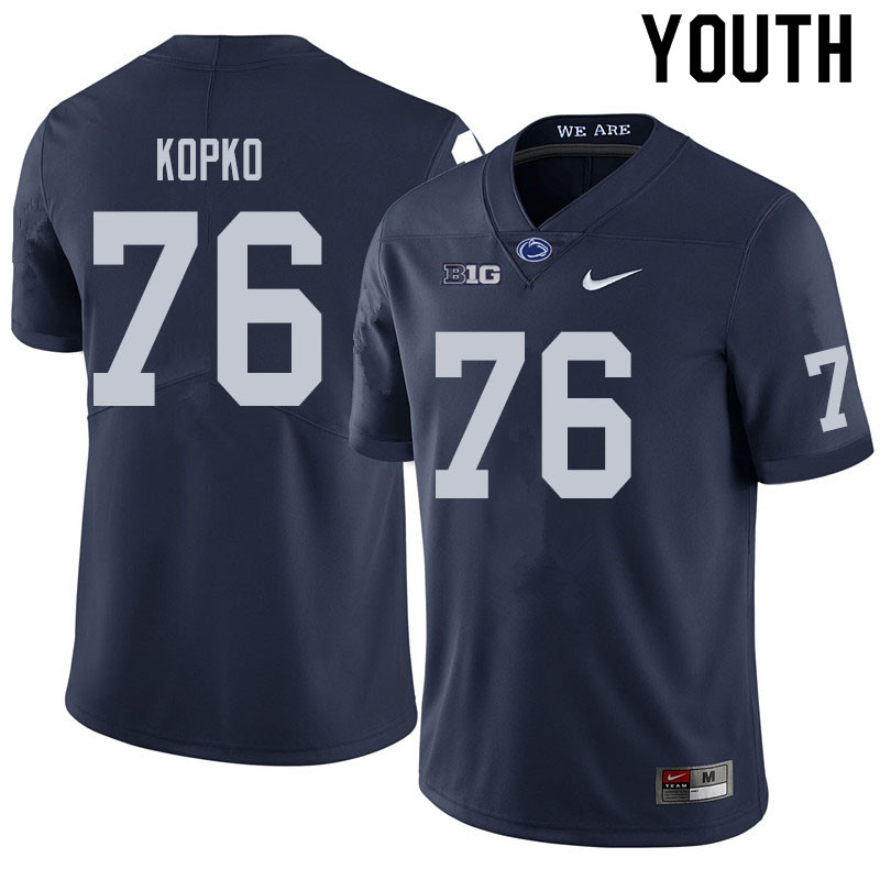Youth #76 Justin Kopko Penn State Nittany Lions College Football Jerseys Sale-Navy