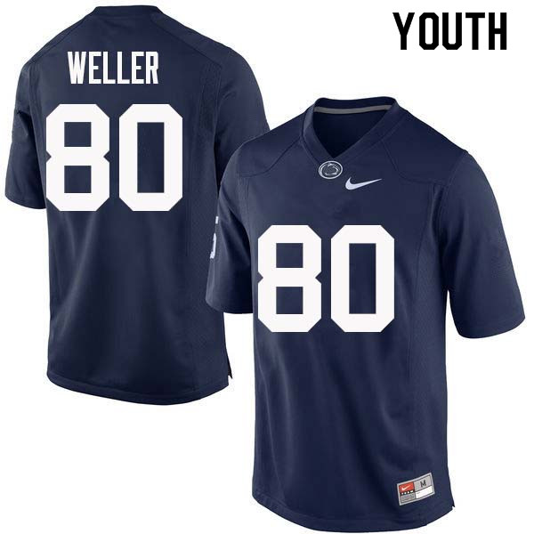 Youth #80 Justin Weller Penn State Nittany Lions College Football Jerseys Sale-Navy