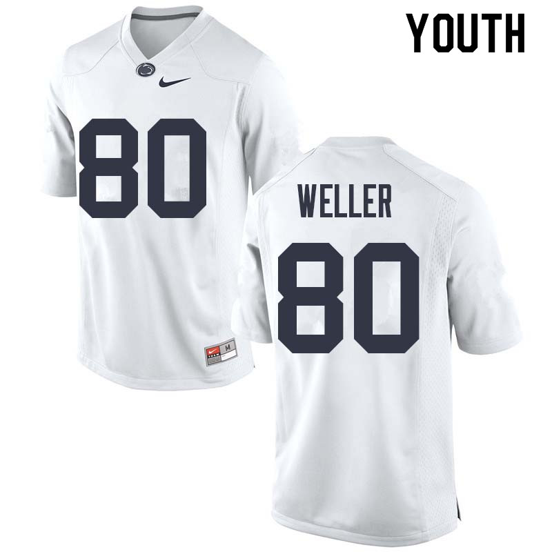 Youth #80 Justin Weller Penn State Nittany Lions College Football Jerseys Sale-White