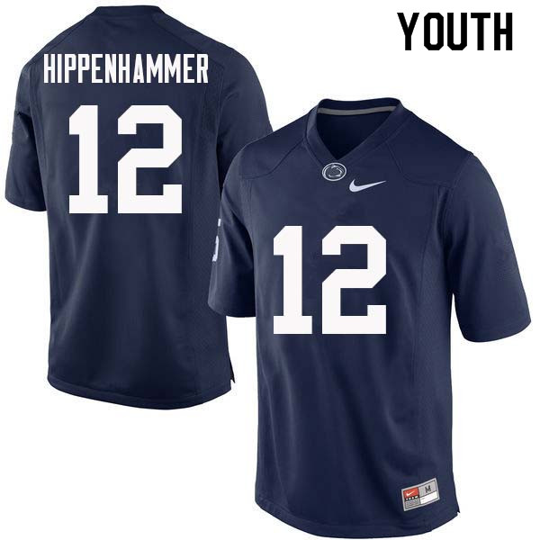 Youth #12 Mac Hippenhammer Penn State Nittany Lions College Football Jerseys Sale-Navy