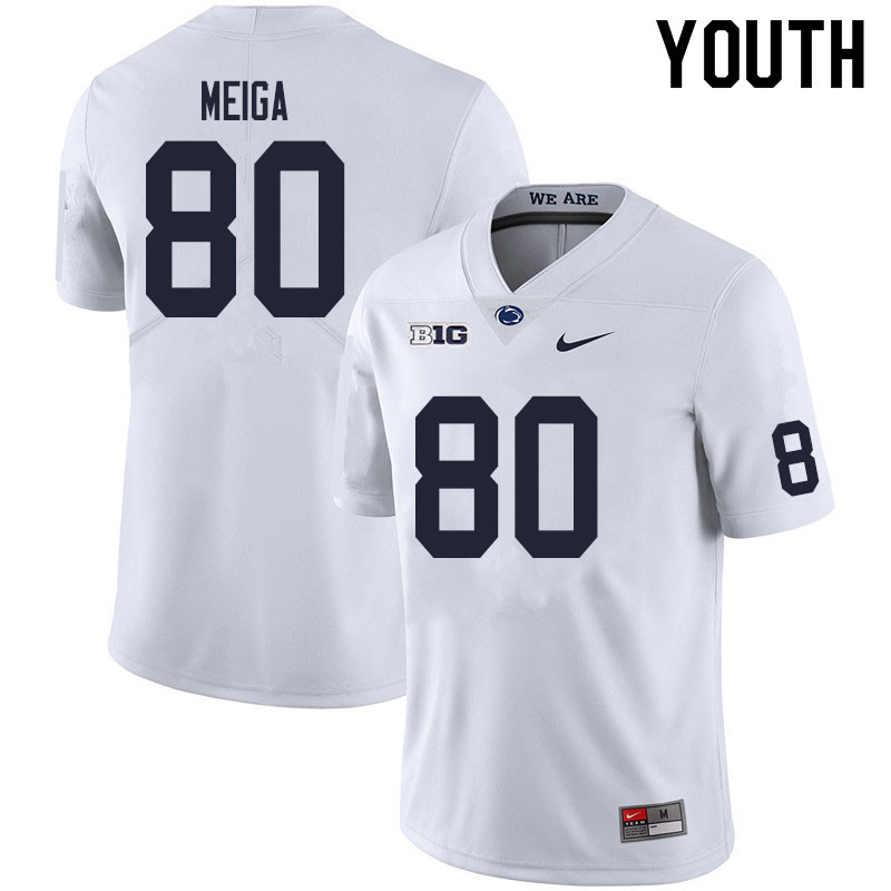 Youth #80 Malick Meiga Penn State Nittany Lions College Football Jerseys Sale-White