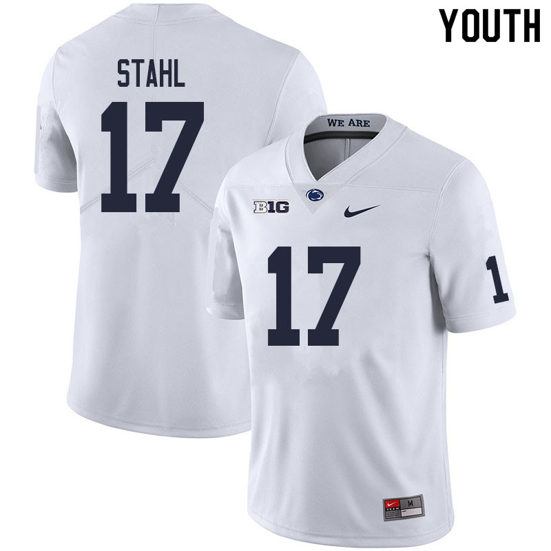 Youth #17 Mason Stahl Penn State Nittany Lions College Football Jerseys Sale-White
