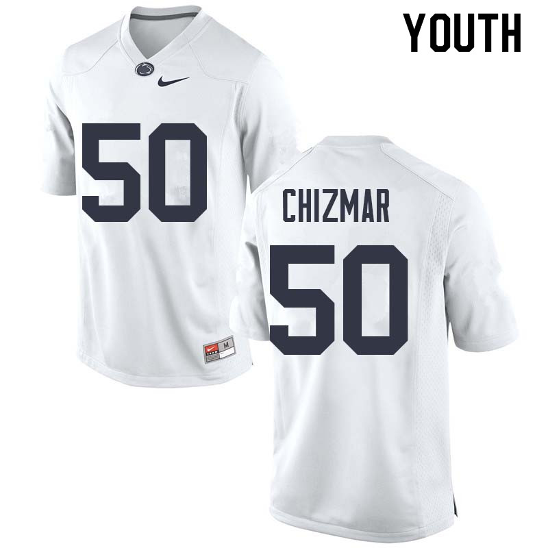 Youth #50 Max Chizmar Penn State Nittany Lions College Football Jerseys Sale-White
