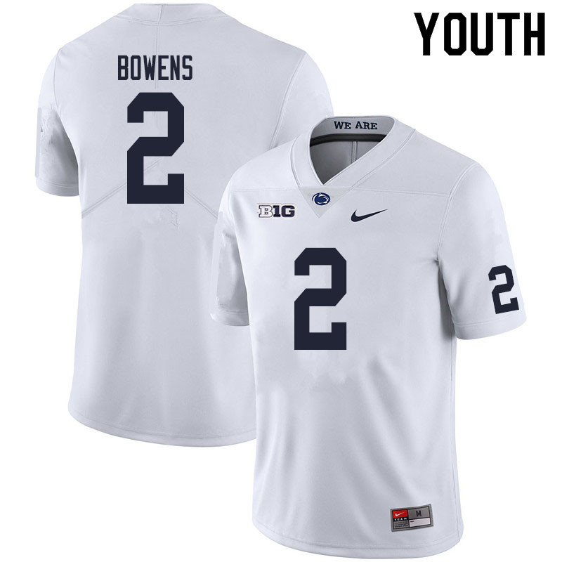 Youth #2 Micah Bowens Penn State Nittany Lions College Football Jerseys Sale-White