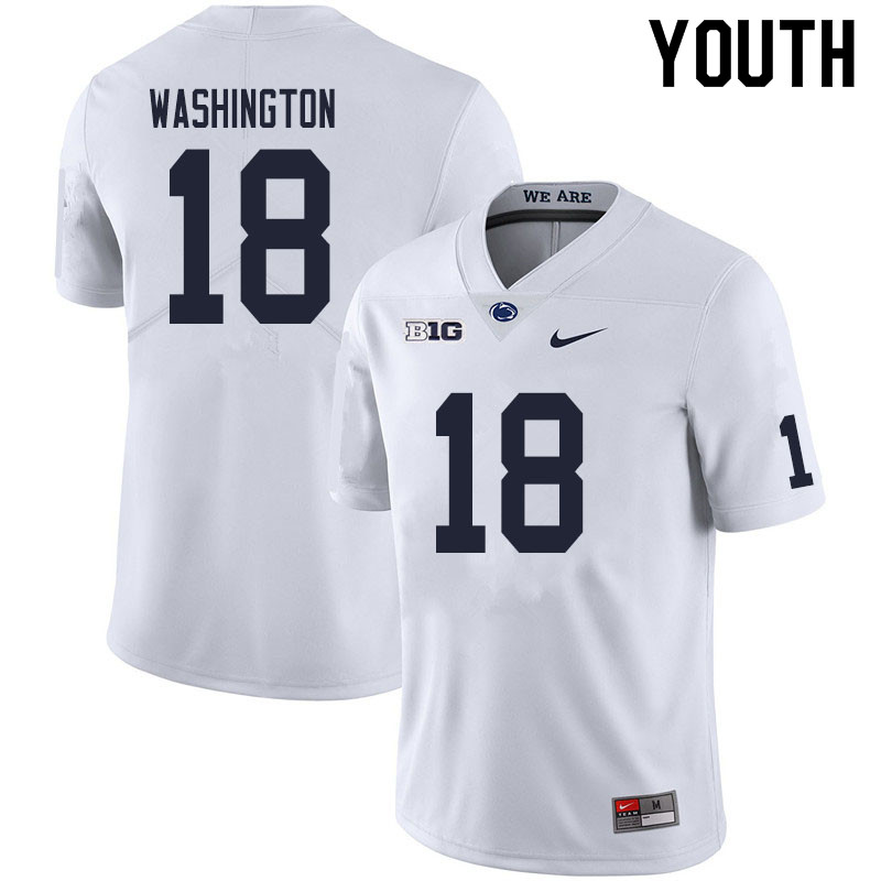 Youth #18 Parker Washington Penn State Nittany Lions College Football Jerseys Sale-White