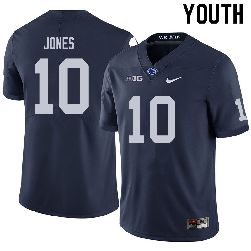 Youth #10 TJ Jones Penn State Nittany Lions College Football Jerseys Sale-Navy