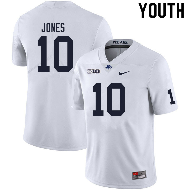 Youth #10 TJ Jones Penn State Nittany Lions College Football Jerseys Sale-White