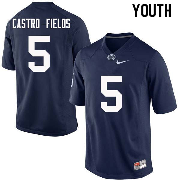 Youth #5 Tariq Castro-Fields Penn State Nittany Lions College Football Jerseys Sale-Navy